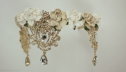 Handmade Glamour Gold toned tiara with flowers