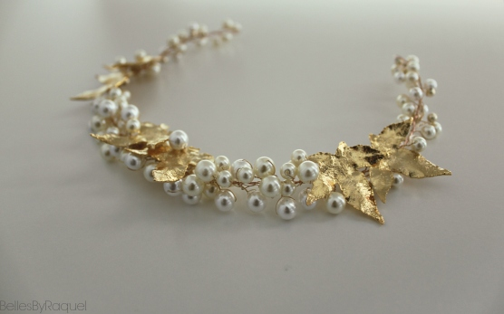 Handmade Gold and Pearl long hair vine , available in White Gold leaves Tag PhotoEdit