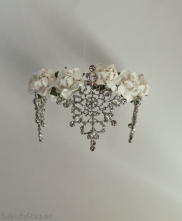 Handmade Snow White toned tiara with flowers