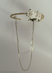 Handmade Gold toned flower and chain Headband tiara , available in White Gold tones